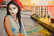 Bangkok Paintings - Kuralai is waiting. Bangkok sunset. by Natalia Baykalova