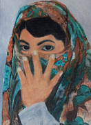Black Hair Pastels Framed Prints - Kurdish Girl Framed Print by Serran Dalmak
