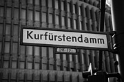 Kudamm Photo Posters - Kurfurstendamm street sign Berlin Germany Poster by Joe Fox