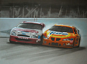 Sponsor Framed Prints - Kurt Busch and Ricky Craven-2003 Darlington Finish Framed Print by Paul Kuras