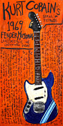 Guitars Paintings - Kurt Cobain 1969 Mustang by Karl Haglund