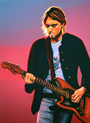 Lead Singer Painting Prints - Kurt Cobain 2 Print by Paul  Meijering