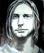Rock And Roll Music Mixed Media Originals - Kurt Cobain by Art by Kar