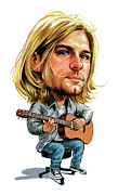 Caricatures Paintings - Kurt Cobain by Art