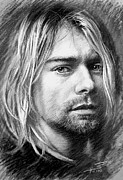 Lead Singer Drawings - Kurt Cobain by Viola El