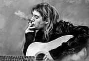 Lead Drawings Prints - Kurt Cobain guitar  Print by Viola El