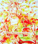 Live Music Framed Prints - KURT COBAIN LIVE CONCERT - watercolor portrait Framed Print by Fabrizio Cassetta