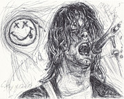 Rock N Roll Drawings Originals - Kurt Cobain by Michael Morgan