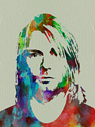 Celebrities Painting Framed Prints - Kurt Cobain Nirvana Framed Print by Irina  March