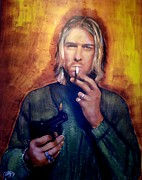 Lead Singer Paintings - Kurt Cobain Nirvana by Peter Hereel