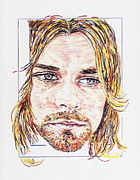 Seattle Drawings Acrylic Prints - Kurt Cobain Acrylic Print by Pat Byrne