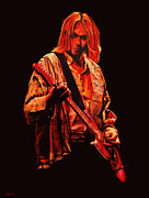 Singer Painting Framed Prints - Kurt Cobain Framed Print by Paul  Meijering