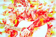 Live Music Painting Posters - KURT COBAIN playing LIVE - watercolor portrait Poster by Fabrizio Cassetta