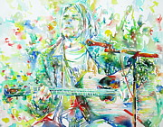 Microphone Painting Framed Prints - KURT COBAIN playing the guitar - watercolor portrait Framed Print by Fabrizio Cassetta