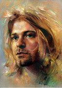 Kurt Cobain Pastels - Kurt Cobain Portrait by Artist Haiyan by Haiyan Art