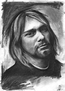 27 Club Drawings - Kurt Cobain by Richard Day