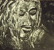 Icons Painting Originals - Kurt Cobain Singing All Apologies by Tammy Garren