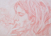 Smoking Drawings Framed Prints - KURT COBAIN SMOKING-pencil portrait Framed Print by Fabrizio Cassetta