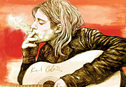 Album Mixed Media - Kurt Cobain - stylised drawing art poster by Kim Wang