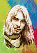 Lead Mixed Media Framed Prints - Kurt Cobain Stylised Pop Morden Art Drawing Sketch Portrait Framed Print by Kim Wang