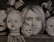 Kurt Cobain Art - Kurt Cobain with dolls by Kathleen Barrett