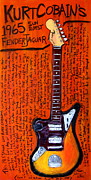 Rock And Roll Paintings - Kurt Cobains 65 Jaguar by Karl Haglund