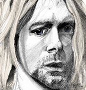 Rock Icon Drawings Posters - Kurt Poster by Michele Engling