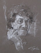 Vonnegut Framed Prints - Kurt -- Unfinished Sketch Framed Print by Cliff Spohn