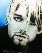 Kurt Cobain Metal Prints - Kurt V Metal Print by Christian Chapman Art