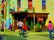 Day In The Life Paintings - Kusmi Tea And Sandwich Shop St Viateur Corner St Urbain Montreal Summer City Scene  Carole Spandau by Carole Spandau