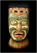 Canada Art Pyrography Prints - Kwakiutl Free Spirit Mask Print by Cynthia Adams