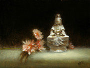 Olive Green Painting Prints - Kwan Yin Print by Christy Olsen