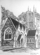 Buildings Drawings - Kylemore Abbey Gothic Chapel by Jimmy McAlister