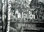 Landscapes Drawings - Kylemore Abbey by Jimmy McAlister