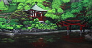 Japanese Tea Garden Paintings - Kyoto Teahouse by D L Gerring