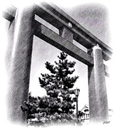 Lamp Post Drawings Prints - Kyoto Torii Print by Jenny Hudson