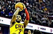 Slam Dunk Framed Prints - Kyrie Irving Jumpshot Framed Print by Florian Rodarte