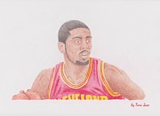 Lebron Drawings Framed Prints - Kyrie Irving Framed Print by Toni Jaso