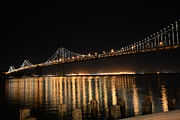 Bay Bridge Prints - L E D Lights on the Bay Bridge Print by David Bearden