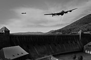 Lancaster Bomber Prints - L for Leather over the Eder Dam black and white version Print by Gary Eason