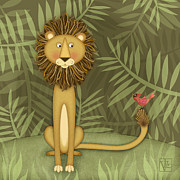 Children Framed Prints Prints - L is for Lions and Leos Print by Valerie  Drake Lesiak