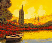 Sky Painting Metal Prints - La Barca Al Tramonto Metal Print by Guido Borelli