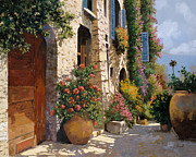 Blue Flowers Painting Posters - La Bella Strada Poster by Guido Borelli