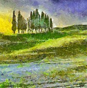 Impressionism Framed Prints - La Bella Toscana Framed Print by Dragica  Micki Fortuna