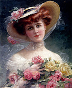 Bouquet Of Roses Framed Prints - La Belle Aux Fleurs Framed Print by Emile Vernon