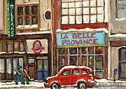 Hockey In Montreal Paintings - La Belle Province Restaurant Downtown Montreal by Carole Spandau