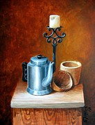 Candle Stand Paintings - La Cafetera by Edgar Torres