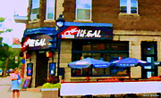 Point St. Charles Paintings - La Chic Regal Pointe St Charles Blue Umbrellas On The Terrace Montreal Pub Scene Carole Spandau by Carole Spandau