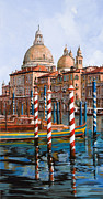Dock Painting Metal Prints - La Chiesa Della Salute Sul Canal Grande Metal Print by Guido Borelli