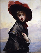 Feathered Hat Framed Prints - La Coquette Framed Print by Gustave Jean Jacquet